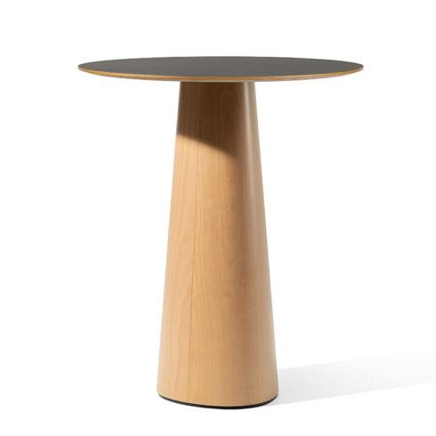 p o v multiplex l nano table top beech base lacquer circle cm chamfer edge natural